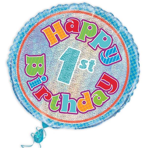 """Folienballon """"Happy 1st Birthday"""", prismatisch, Ø 45cm"""