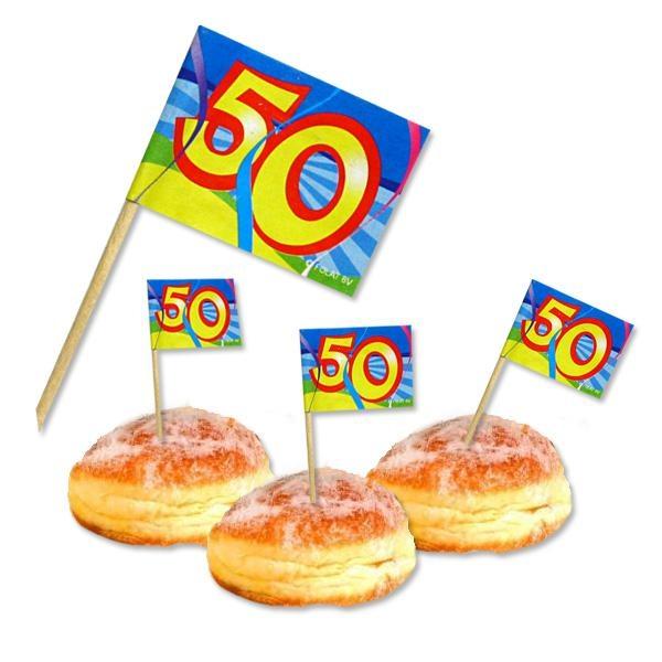 Deko-Picker zum 50. Geburtstag, 50 bunte Fähnchen aus Papier