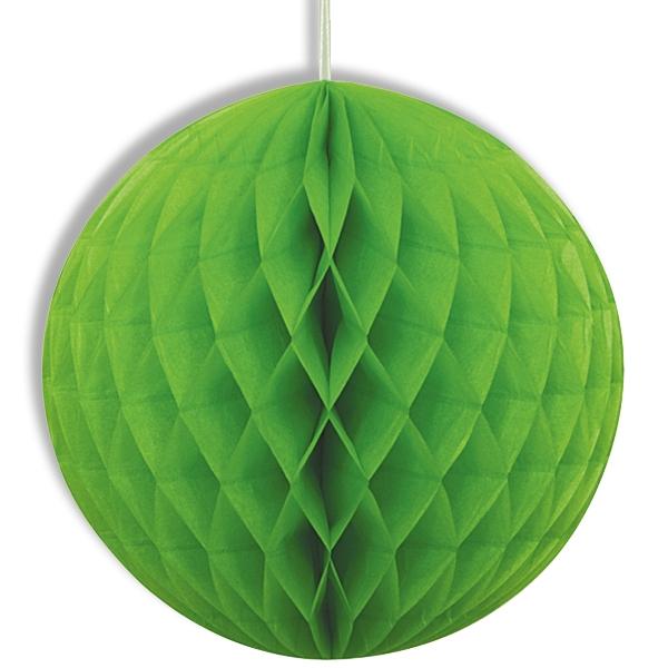 Wabenball grün mit Schnur, 20cm, Wabendekoration aus Papier
