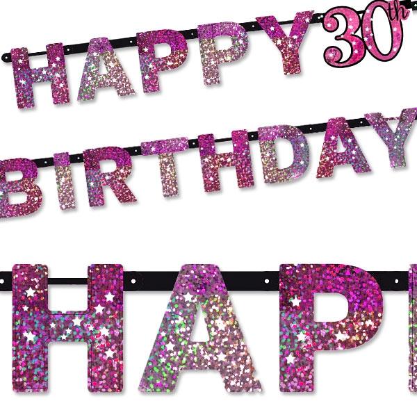 Sparkling Celebr. Pink Zahl 30 Happy Birthday, 2,13m