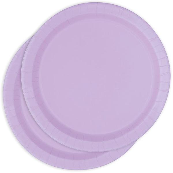 Pappteller einfarbig lavendelfarben, lila Partyteller im 8er Pack, 22cm