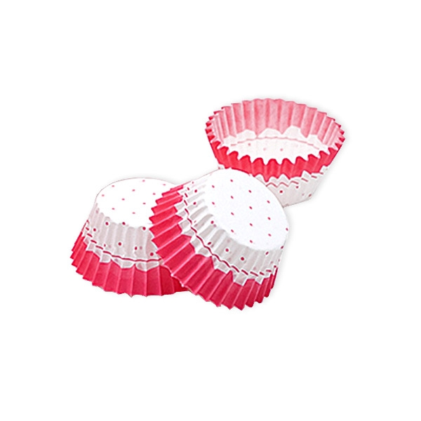 Mini-Muffinförmchen, rosa gepunktet,100 Stück