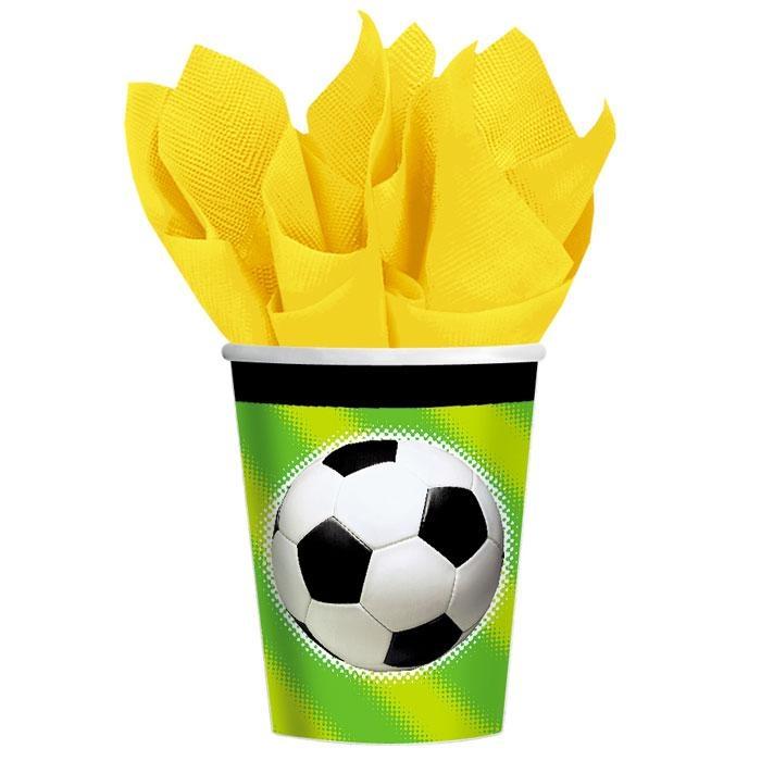 Becher mit Fußball 8 Stk., 266 ml, Pappbecher für Fußballparty