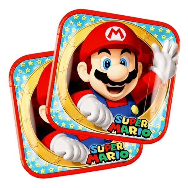 Super Mario Partyteller, 8er Pack, quadratisches Design, 23cm, Pappe