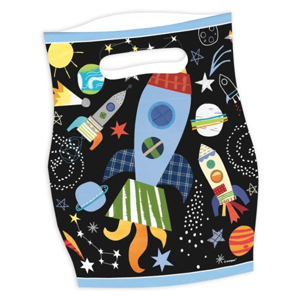Weltraum Tütchen, 8 Folietütchen, Geschenktüten Weltall-Mottoparty