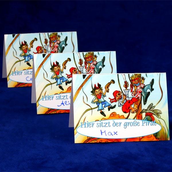 Kindergeburtstag-Tischkarte für Piratenparty als Platzkarten, 10,5x7,3cm, 1 Stk.
