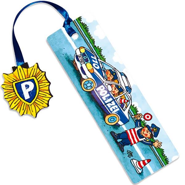 Polizei Glitzer-Lesezeichen 1 Stück, Mitgebsel für Polizeiparty Kinder