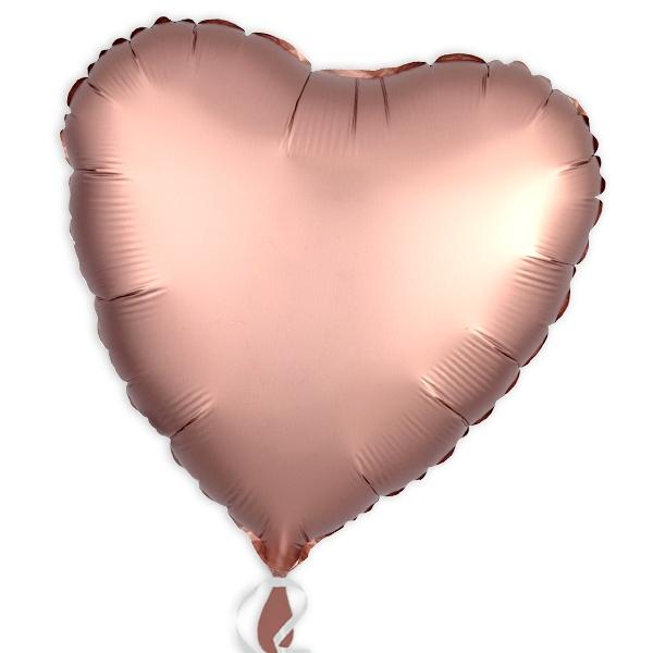 Folienballon als Herz Rose-Kupfer, 34 cm
