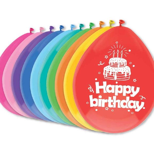 """Luftballons, bedruckt mit """"Happy birthday"""", 10 Stück"""