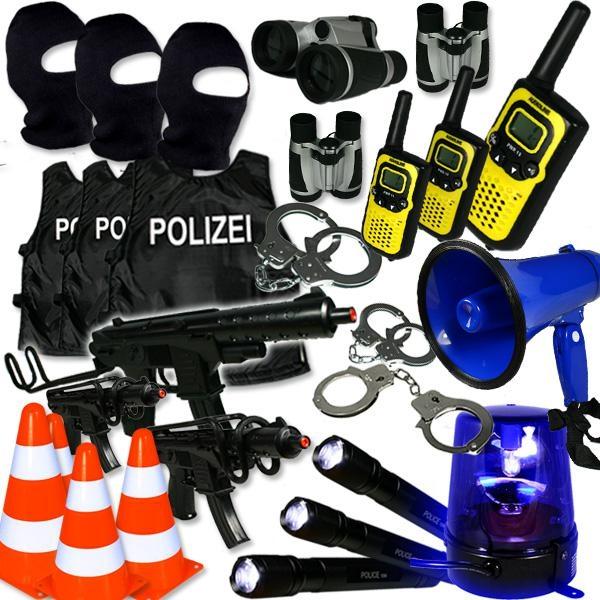 Polizei Verleihkiste SEK, Westen, Handschellen, Walkie Talkies und vieles mehr