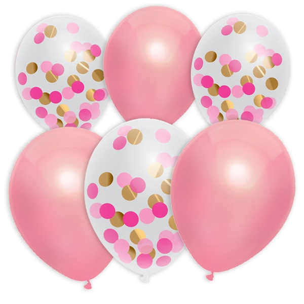 Latexballons, 6 Stück, Ø 30cm, 3 rosa Ballons + 3 Konfettiballons