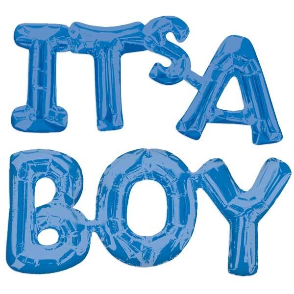 """Ballonset """"IT'S A BOY"""" zur Geburt, blaue Metallicfolie"""