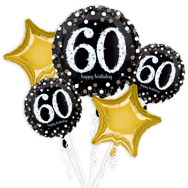 """60. Geburtstag"" Glitzer Ballon-Set, 5-teilig"