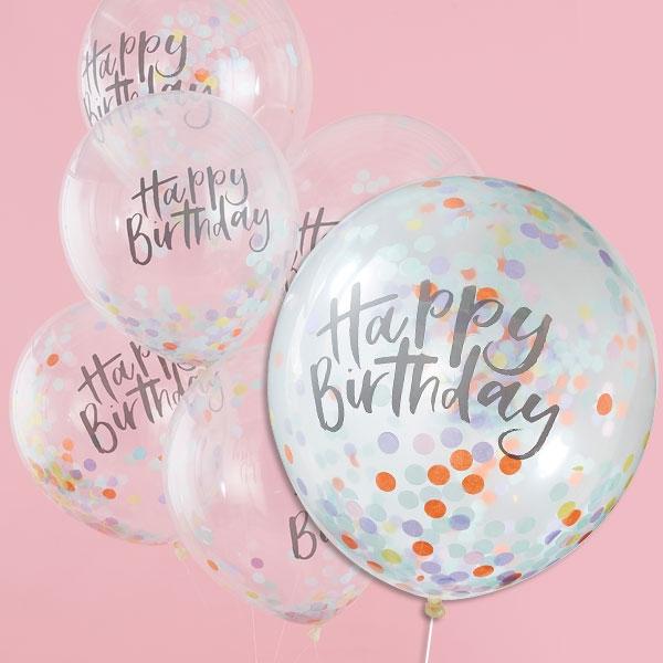 Pastell Party, Happy Birthday Ballons mit Konfetti, 5 Stk, Ø 30cm