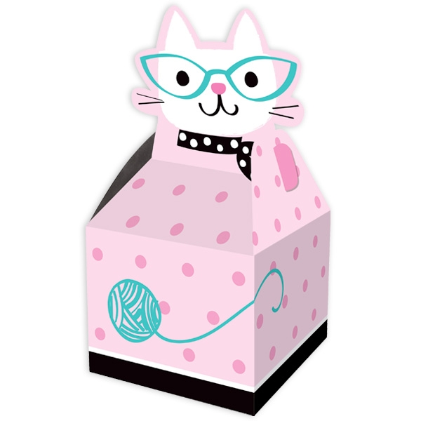Kätzchen Party Geschenkboxen im 8er Pack aus Pappe zum Falten