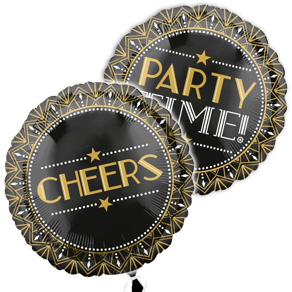 Party Time, runder Folienballon, 34cm