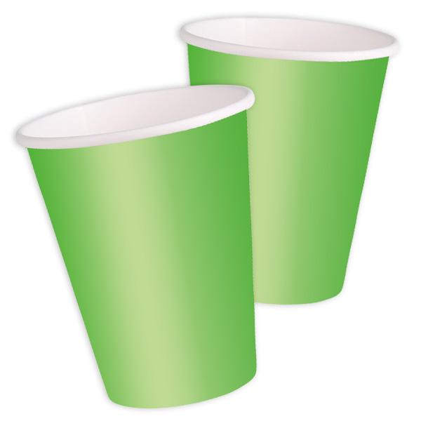 Becher grasgrün, 8 einfarbige Einwegbecher aus Pappe, 270 ml