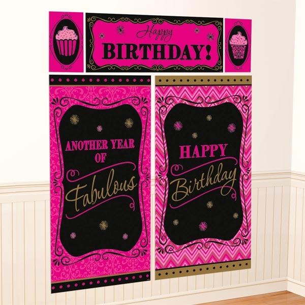 Fabulous Wanddeko-Set 5-tlg. Folie, Happy Birthday Design pink/schwarz