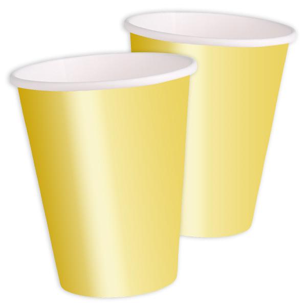 goldene Pappbecher 8er Pack, 270ml, einfarbige Partybecher für Vieles