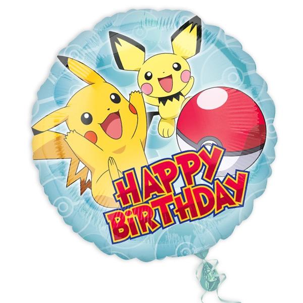 Pokemon, runder Folienballon, 34cm, Lieferung mit Heliumfüllung möglich