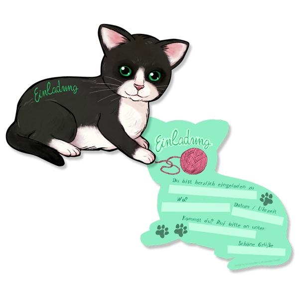 Katzen Einladungskarten, 6er Pck, 15cm x 11,5cm