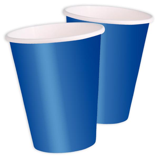 Partybecher einfarbig blau, 8 Stück, Einwegbecher aus Pappe, 270 ml