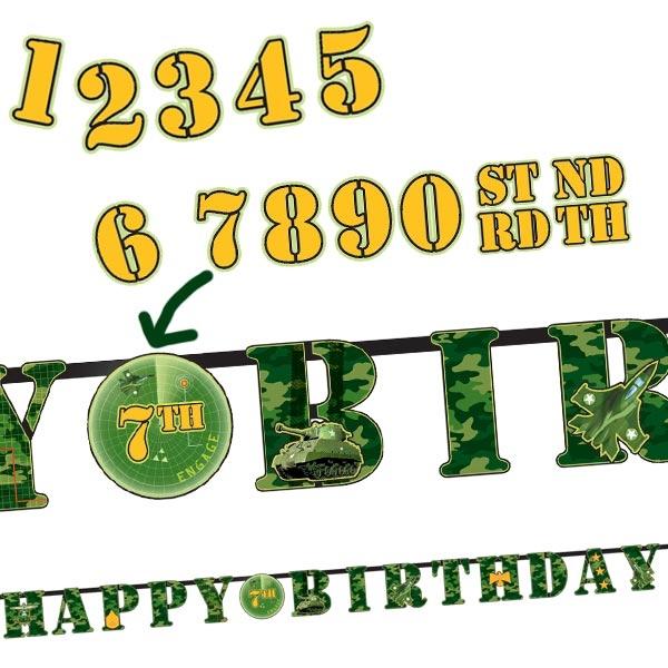 Camouflage Partykette 3,2 m Pappe, Tarnfarben-Deko mit Zahlenstickern