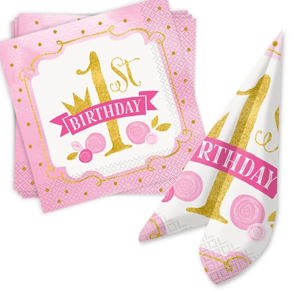 """16 Servietten """"1st Birthday"""" in pink & gold für 1. Geburtstag Mädchen, 33cm x 33cm"""