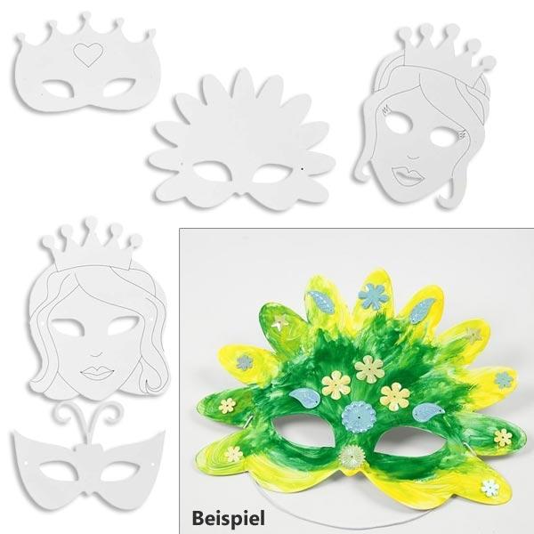 Princess-Masken, 16 Stück, mit Gummiband, in 5 versch. Designs
