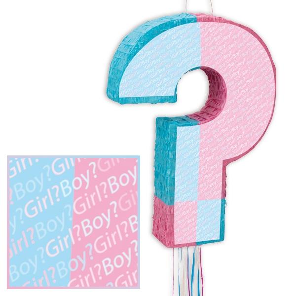 Pinata zum Ziehen, FRAGEZEICHEN rosa+hellblau, Babyshower-, Gender-Reveal-Party