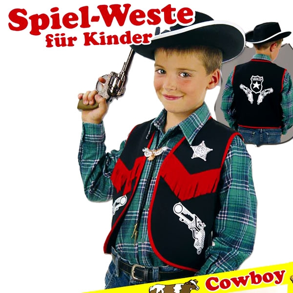 Cowboy Weste mit Aufdruck, Fransen & Sheriffstern, Gr.116 , Cowboykostüm