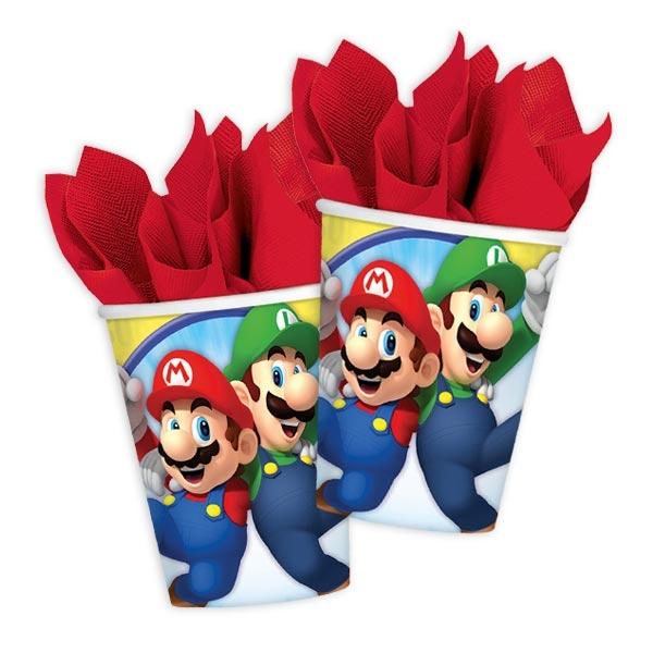 Super Mario Einwegbecher aus Pappe im 8er Pack für echte Fans, 266ml