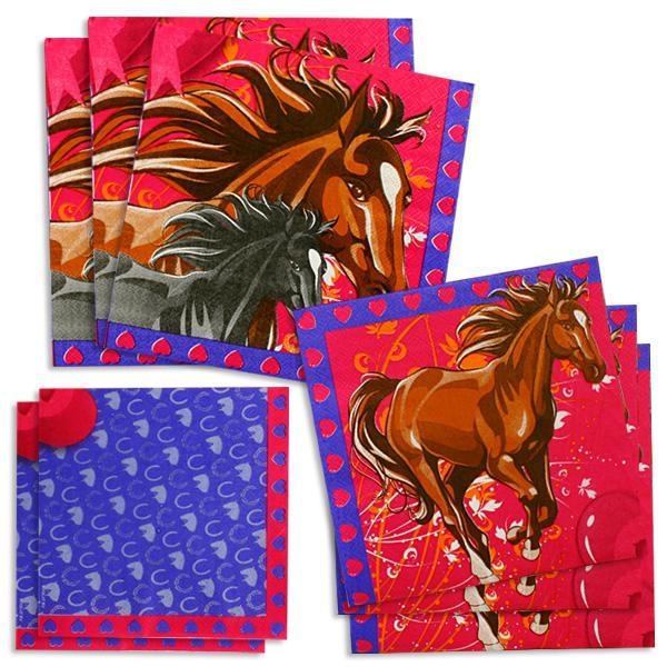 Pferde-Servietten 20 Stück, 33 cm, Papierservietten mit Pferdemotiv