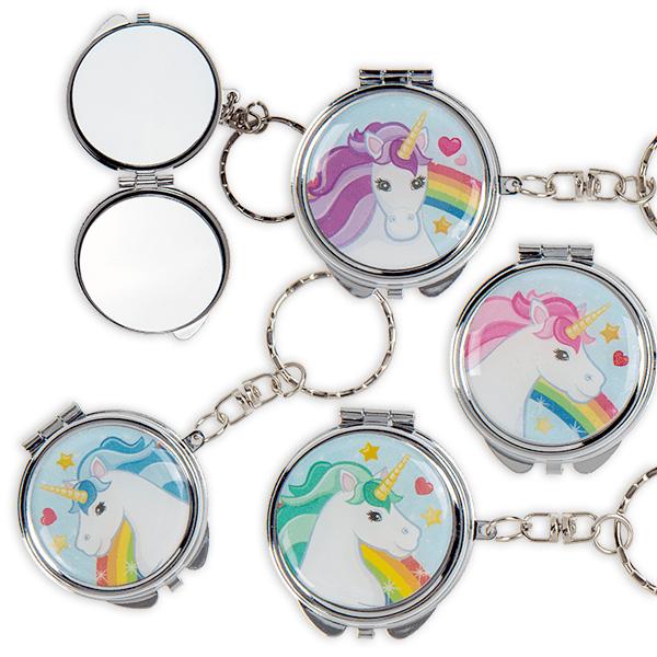 Einhorn-Taschenspiegel mit Schlüsselkette, 1 Stk.