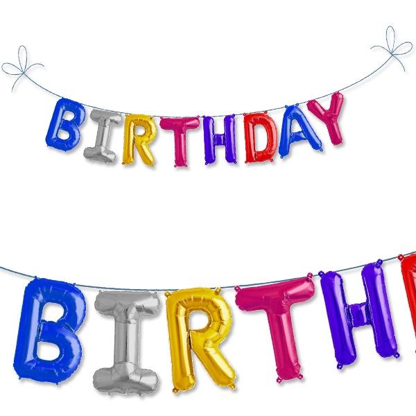 Mini Folieballonset Birthday, bunt, Ballondeko für Geburtstag, 2m