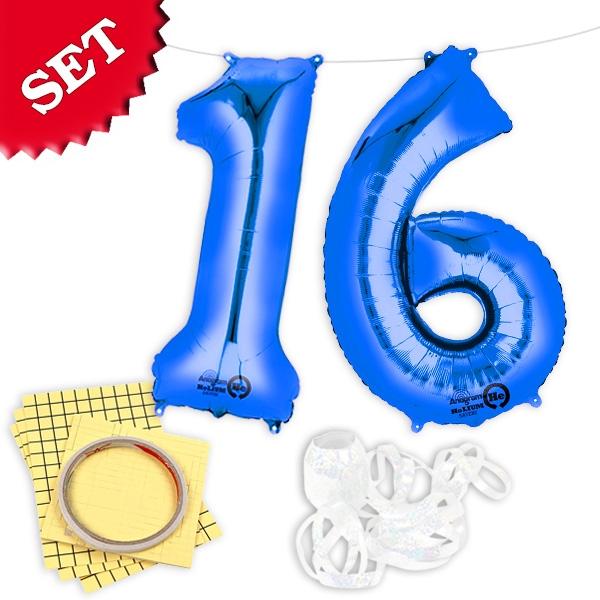 "XXL Folieballons Zahl ""16"", blau"