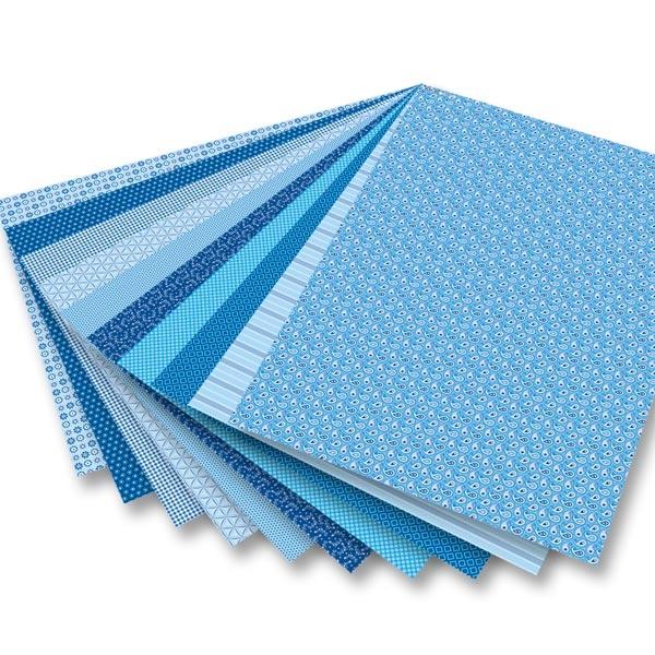 Motivblock Basics blau mit 30 Blatt Bastelpapier/Motivkarton,  24×34cm