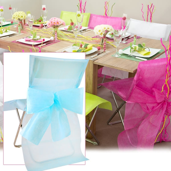 Stuhlhussen hellblau, aus Vlies, 10 Stück für stylische Stuhldekoration