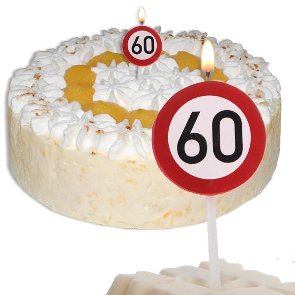 Mini Kerze Zahl 60, Geburtstagskerze als Straßenschild 60. Birthday, 2,2cm