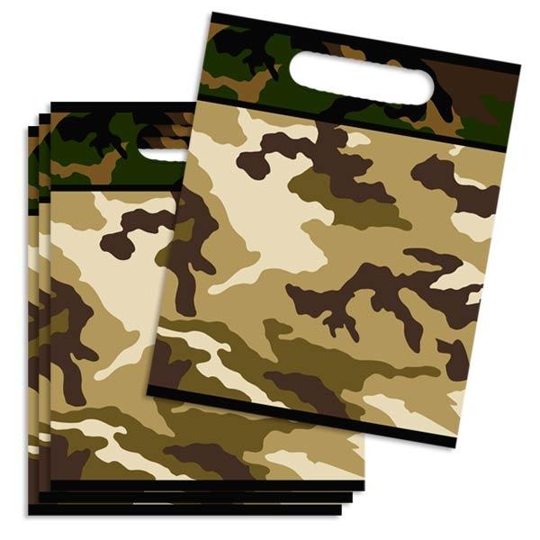 Camouflage Mitgebseltüten, Folie, für Tarnfarben-Mottoparty im 8er Pack