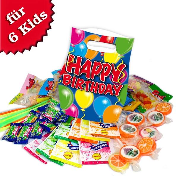 Gefüllte Tütchen für Ballonparty, 6 Partytütchen mit süßer Füllung