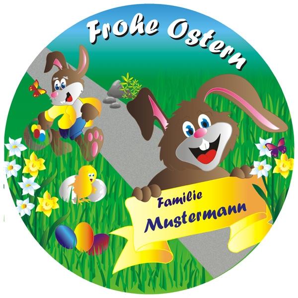 Frohes Osterfest Tortenaufleger mit Familienname – rund