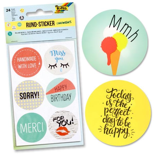 Sticker Set Cool Wishes, Sprüche-und Glückwünsche-Aufkleber, 24 Stück