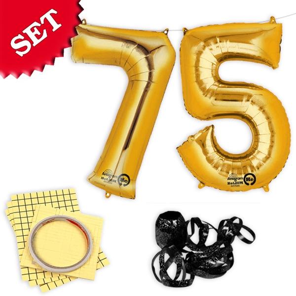 """XXL Folieballons Zahl """"75"""", gold, zum 75 Geburtstag von Goldkindern, 2er"""