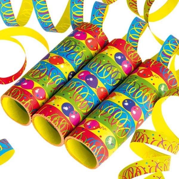 Luftschlangen bunt, 3 Rollen mit je 9 Papierschlagen im Ballon-Design