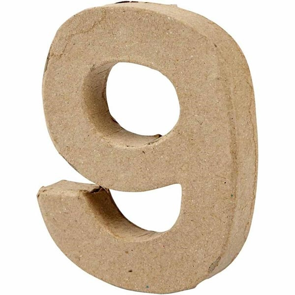 Zahl 9, handgearbeitet aus Pappe, zum Basteln, Bemalen, Verzieren