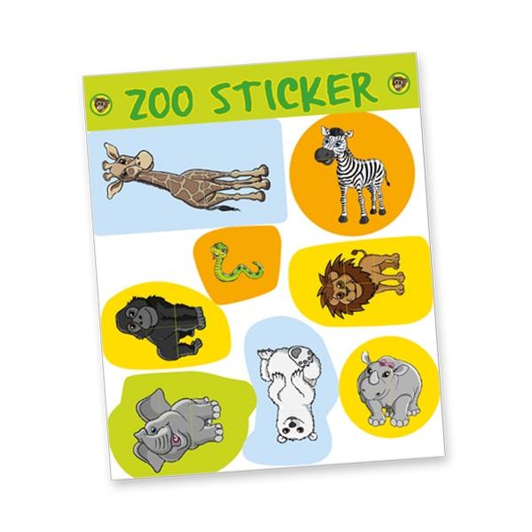 """Stickerbogen """"Zoo"""", 8 Sticker Giraffe, Zebra, Löwe, Eisbär, Elefant etc."""