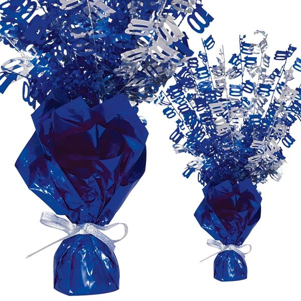 Folien-Tischdeko, Zahlen-Strauch, Zahl 100, knallig Blau