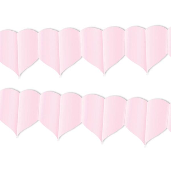 Girlande, rosa Herzen, 4m, 1 Papiergirlande für Valentinstag, Muttertag etc.