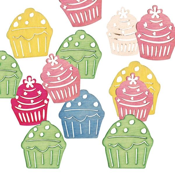 Kleine Holz Streuteile Cupcakes, 2cm, gelasert, 24 Stück
